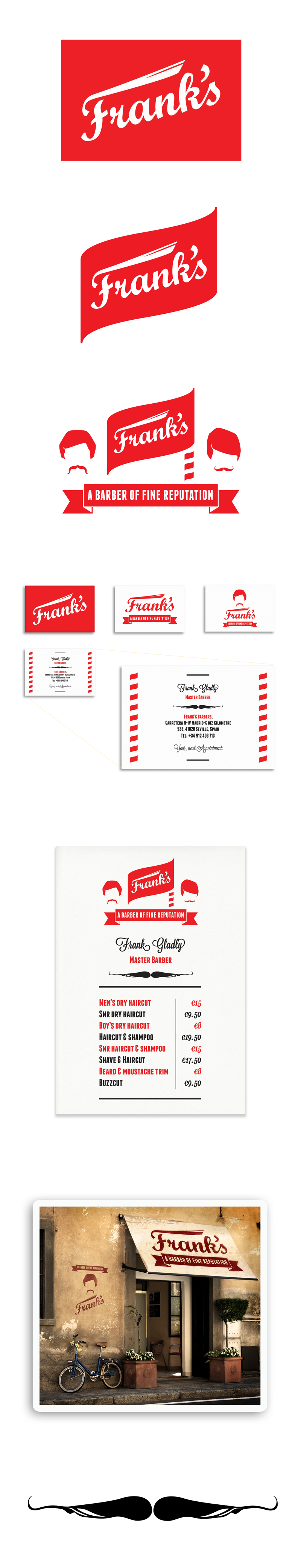 Franks barbers of seville logos print materials designed in franks barber logo shop seville by theory unit graphic design reheart Images